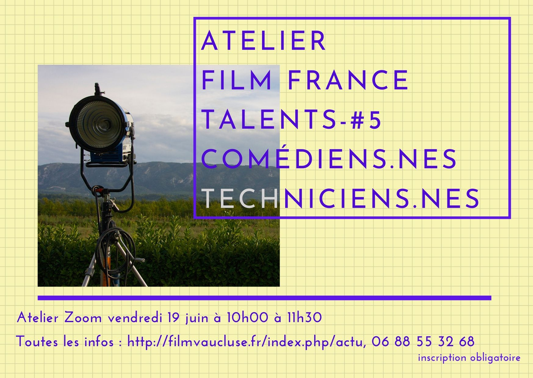 Atelier zoom base Film France Talents -#5 techniciens-nes /Artistes-interprètes