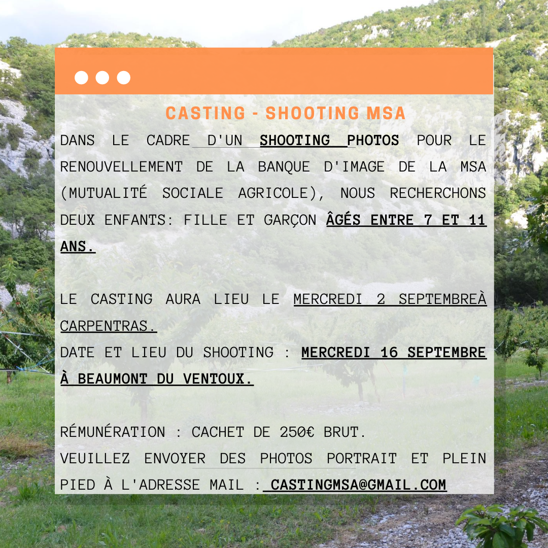 Casting shooting Enfants Vaucluse